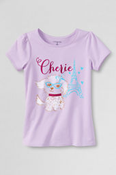 Girls' Short Sleeve Picot Edge Fluffy Dog Graphic T-shirt