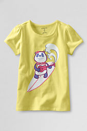 Girls' Short Sleeve Picot Edge Surf Panda Graphic T-shirt