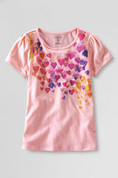 Girls' Short Sleeve Picot Edge Falling Hearts Graphic T-shirt