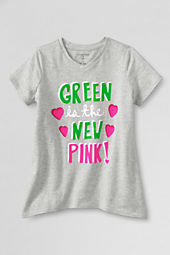 Girls' Short Sleeve New Pink Curved Hem Graphic T-shirt