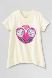 Girls' Short Sleeve Owl Heart Curved Hem Graphic T-shirt