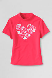 Girls' Short Sleeve Beach Heart Mock Rash Guard