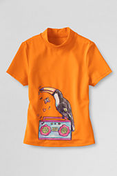 Girls' Short Sleeve Mockneck Jamming Toucan Graphic Rash Guard