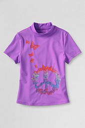 Girls' Short Sleeve Mockneck Peace Butterfly Graphic Rash Guard