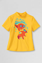 Girls' Short Sleeve Rockstar Star Fish Mock Rash Guard