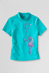 Girls' Short Sleeve Mockneck Seahorse Graphic Rash Guard