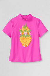 Girls' Short Sleeve Tropical Pineapple Mock Rash Guard