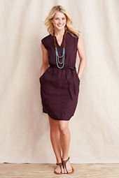 Women's Linen Slit Neck Dress