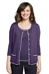 Women's 3/4-sleeve Tipped Cardigan