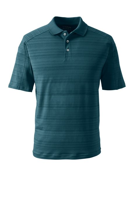 Men's Short Sleeve Tonal Stripe Wicking Active Polo Shirt