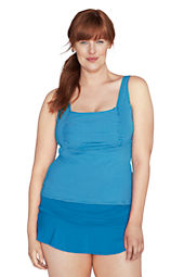 Women's Plus Size Beach Living  Mini Dot Squareneck Tankini Top