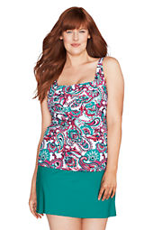 Women's Plus Size Beach Living Tahiti Paisley Squareneck Tankini Top