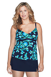 Women's Plus Size Beach Living Floral Paisley Underwire Tankini Top
