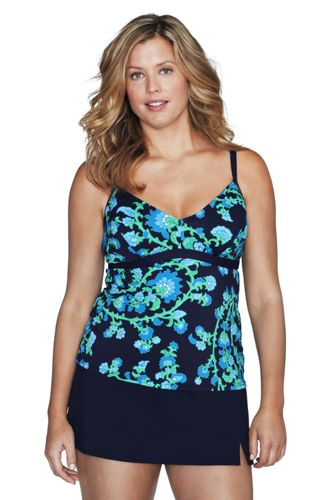 Women's Plus Size DD-cup Beach Living Floral Paisley Underwire Tankini Top  - Deep Sea/Turquoise Blue, 26W