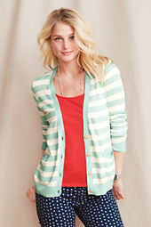 Women's Striped Cotton Linen Cardigan
