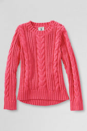 Girls' Solid Open Stitch Cable Sweater