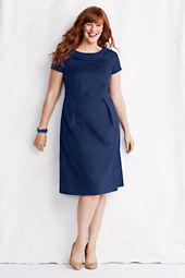 Women's Plus Size Short Sleeve Portrait Collar Stretch Pique Dress