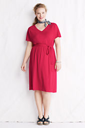 Women's Plus Size Smock Waist V-neck Dress