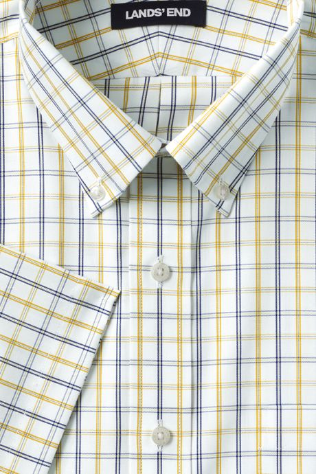 Men's Big & Tall Traditional Fit Short Sleeve Pattern No Iron Supima Pinpoint Dress Shirt