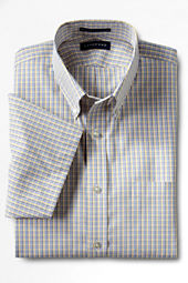 Men's Short Sleeve Traditional Fit Pattern No Iron Pinpoint Buttondown Shirt
