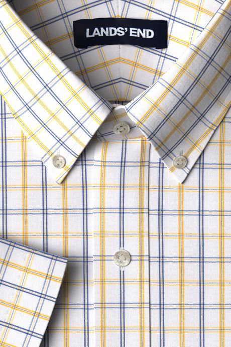 Men's Traditional Fit Short Sleeve Pattern No Iron Supima Pinpoint Dress Shirt