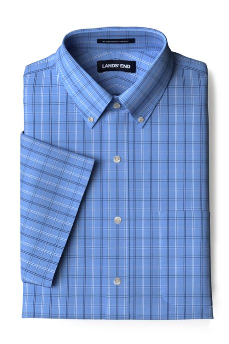 Men's Tall Traditional Fit Short Sleeve Pattern No Iron Supima Pinpoint Dress Shirt