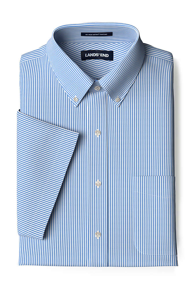 Men's Tall Traditional Fit Short Sleeve Pattern No Iron Supima Pinpoint Dress Shirt, Front