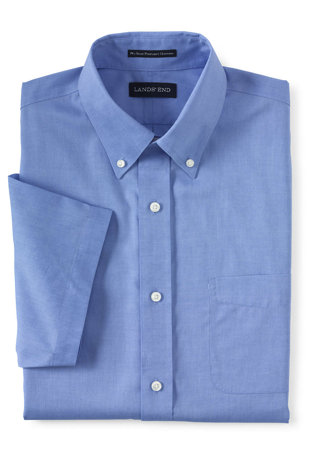 Mens Short Sleeve Supima No Iron Pinpoint Dress Shirt From Lands End