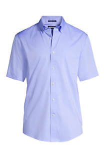 Men's Big & Tall Traditional Fit Short Sleeve Solid No Iron Supima Pinpoint Dress Shirt, Front