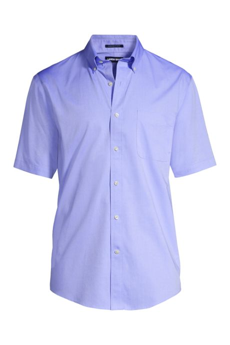 Men's Tall Traditional Fit Short Sleeve Solid No Iron Supima Pinpoint Dress Shirt