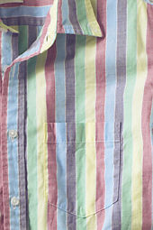Men's Short Sleeve Rainbow Striped Poplin Shirt