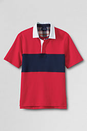 Men's Short Sleeve Pieced Stripe Rugby