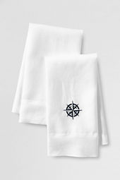 Embroidered Compass Linen Guest Towels (Set of 2)