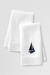 Embroidered Sailboat Linen Guest Towels (Set of 2)