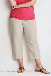 Women's Plus Size Cotton Linen Crop Pants