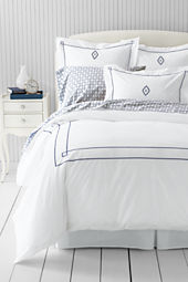 Tailored Hotel Percale Embroidered Diamond Duvet Cover or Sham