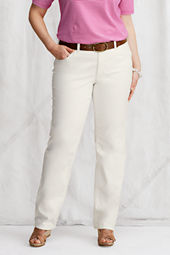 Women's Plus Size Fit 2 Straight Leg White Denim Jeans
