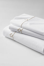Tailored Hotel Percale Embroidered Diamond Sheet Set or Pillowcase