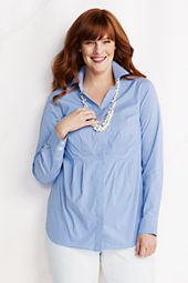 Women's Plus Size Roll Sleeve Pattern Hidden Placket Stretch Splitneck Tunic