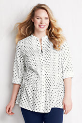 Women's Plus Size Roll Sleeve Pintuck Voile Pattern Tunic