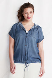 Women's Plus Size Short Sleeve Hooded Indigo Tencel Shirt