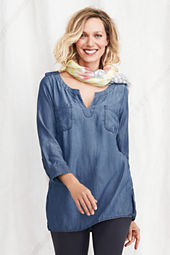 Women's Bracelet Sleeve Indigo Tencel Tunic