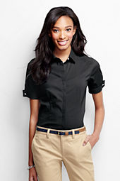 Women's Short Sleeve French Cuff Stretch Blouse