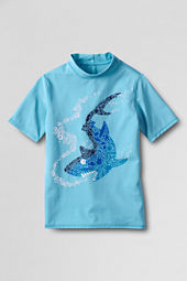 Boys' Short Sleeve Shark Graphic Rash Guard