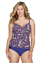 Women's Plus Size All-over-control Royale Paisley Front Drape Tankini Top