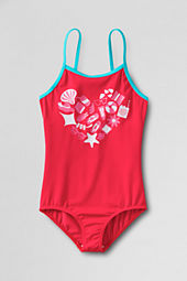 Girls' Beach Heart Graphic One Piece Swimsuit
