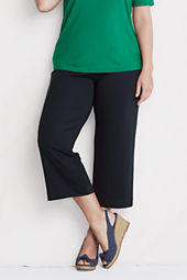 Women's Plus Size Drapey Ponte Wide Leg Crop Pants