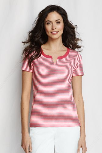 Women's Plus Striped Cotton Rib Notch Tee