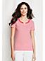 Gestreiftes Baumwoll-Shirt mit Tunika-Ausschnittdetail für Damen in Plusgröße