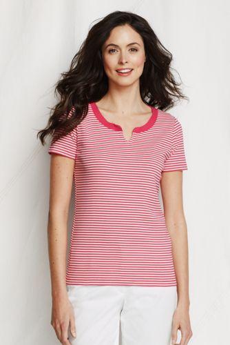 Un T-Shirt Col Cranté en Coton Rayé Femme, Grande Taille
